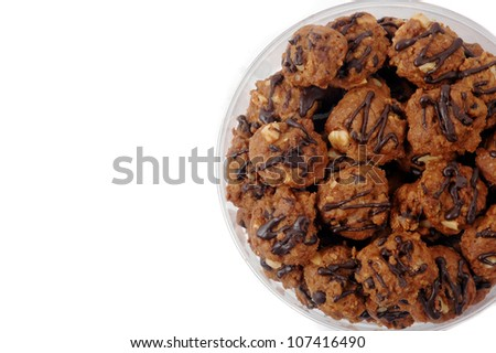 cookies with additional chocolate dilute and peanut isolated on white background