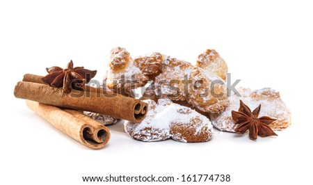 Cookies with anise stars and cinnamon on sacking