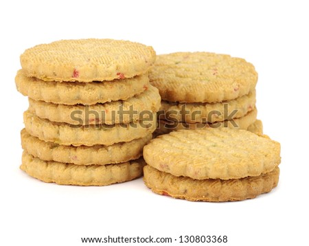 cookies with candied fruit on the white background