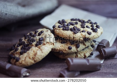cookies with chocolate  - stock photo