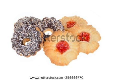 Cookies with chocolate and coconut, isolated on white