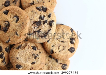 Cookies with chocolate chip isolated on white background. - stock photo