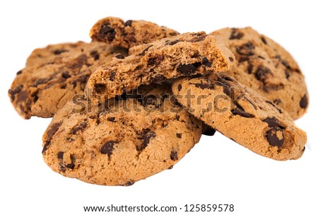 cookies with chocolate isolated on white background - stock photo