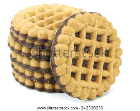 Cookies with chocolate on a white background - stock photo