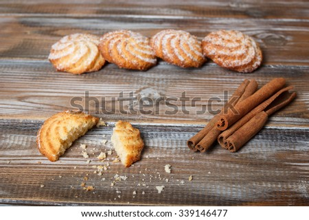 cookies with cinnamon on a rustic background.