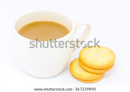Cookies with coffee cup, On white background - stock photo