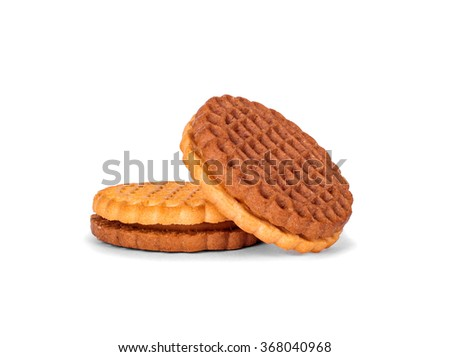 cookies with cream filling isolated on white background