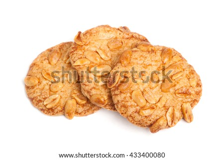 Cookies with nuts isolated on white background - stock photo
