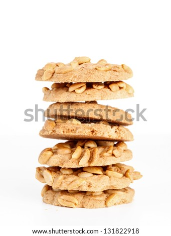 Cookies with peanuts isolated on white