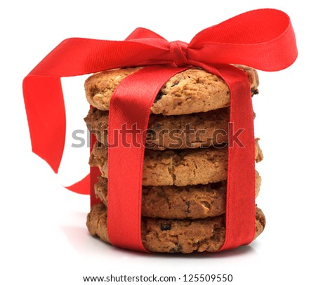 cookies with red ribbon isolated on white - stock photo
