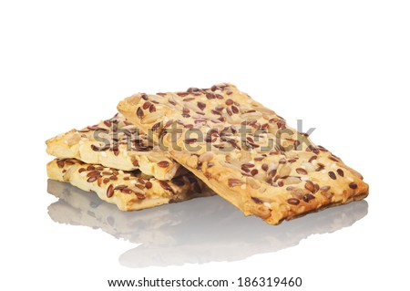Cookies with seeds isolated on white background  - stock photo