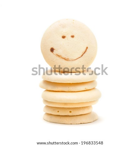 cookies with smile face isolated on white background.