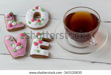 cookies with tea, word Love