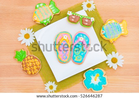 Cookies with tropical summer beach theme.