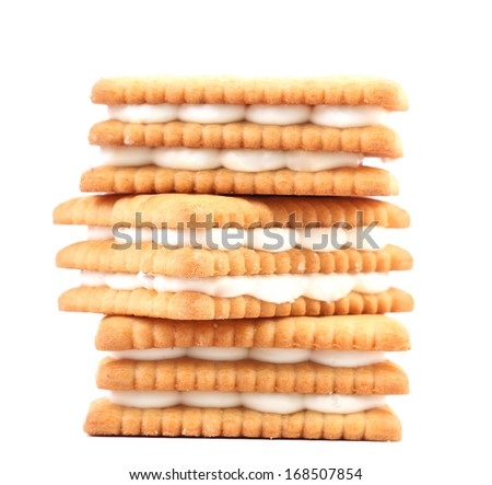 Cookies with white chocolate. Isolated on a white background.