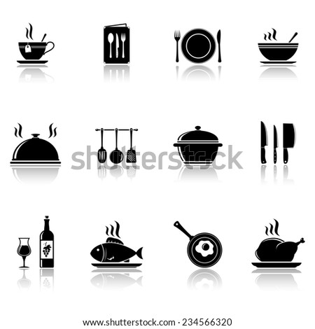 Cooking and kitchen icons with reflection - stock photo