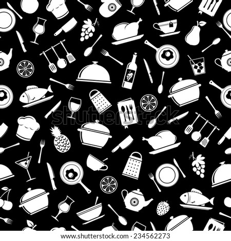 Cooking and kitchen seamless pattern
