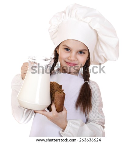 Cooking and people concept - Little girl in a white apron holding a jug of milk, isolated on white background - stock photo