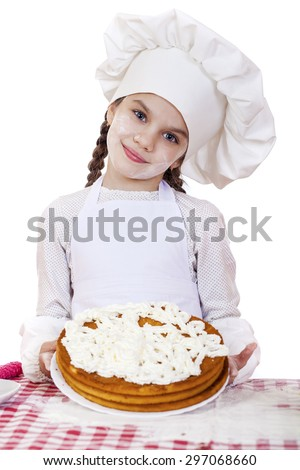 Cooking and people concept - smiling little girl in cook hat, isolated on white background - stock photo
