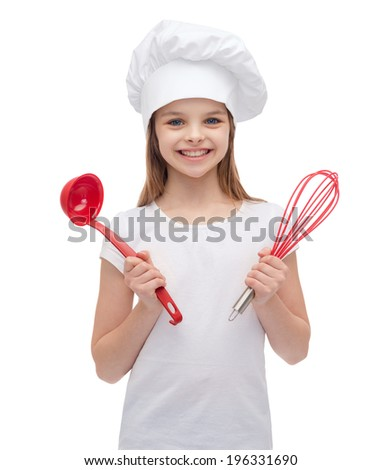 cooking and people concept - smiling little girl in cook hat with ladle and whisk - stock photo