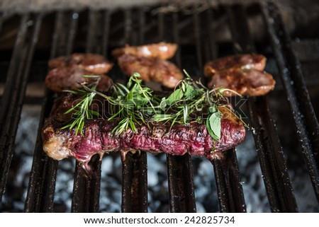 Cooking barbecue traditional Asado at Buenos Aires. Argentina. - stock photo
