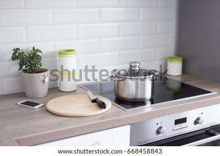 Cooking Concept Close Kitchen Table Modern Stock Photo Royalty Free