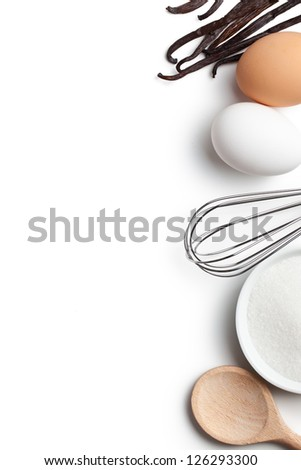 Cooking concept. Ingredients and kitchen tools on white background. - stock photo