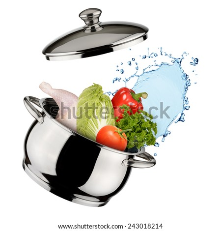 Cooking concept. Saucepan with vegetables and water isolated on white background - stock photo