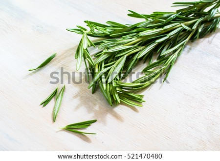 Cooking concept with fresh rosemary on rustic background