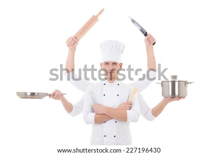 cooking concept -young man chef with 6 hands holding kitchen equipment isolated on white background - stock photo