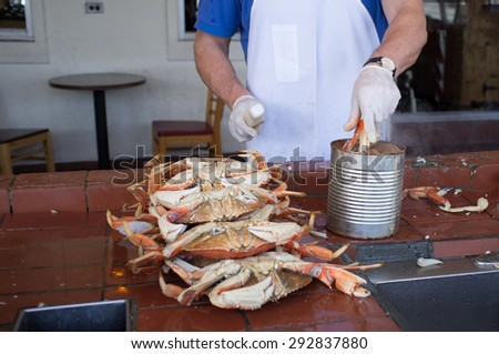 cooking crabs - stock photo