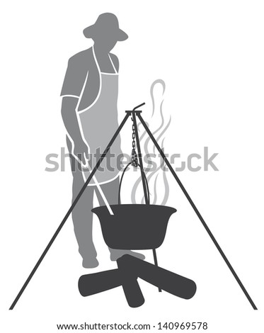 cooking fish soup in a pot on the fire (cooking dinner in a campaign on fire, pot with fish soup, cooking fish soup on the fire) - stock photo