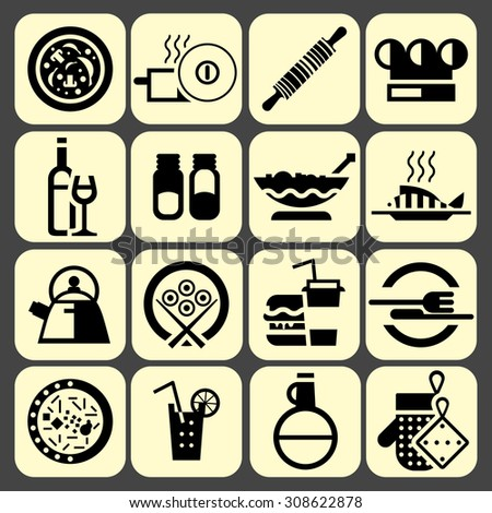 Cooking food icons set black with pizza pot rolling pin chef hat isolated  illustration - stock photo