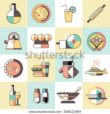 Cooking food icons set flat line with seasoning pizza cocktail rolling pin isolated  illustration - stock photo