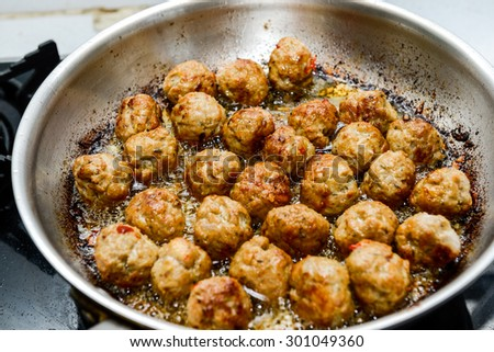 Cooking, food. Meatballs on the pan - stock photo