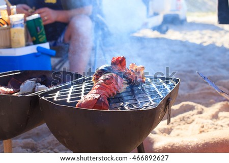 cooking fresh crayfish on the beach