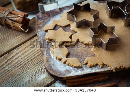 cooking ginger cookies, food close-up - stock photo