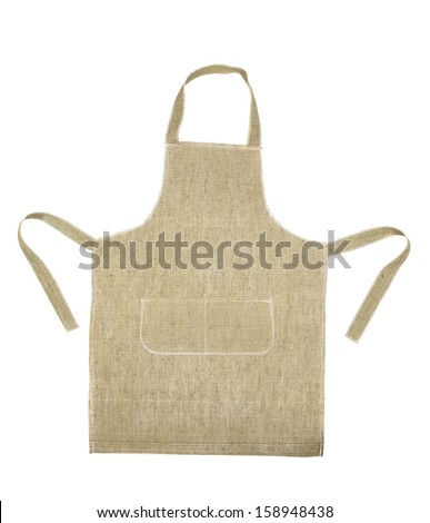 Cooking gray apron. Isolated on a white background. - stock photo