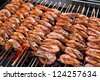 cooking grill shrimp, food background - stock photo