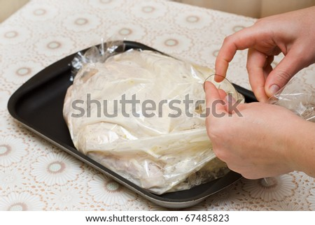 cooking in plastic bags, kitchen - stock photo