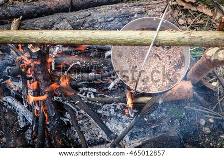 Cooking in the camp on open air