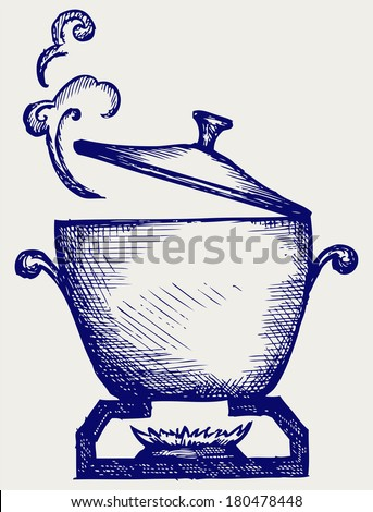 Cooking in the metal pan. Doodle style. Raster version - stock photo