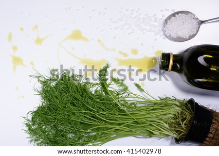 Cooking ingredients, herb and olive oil salad seasoning. Top View, white background. - stock photo