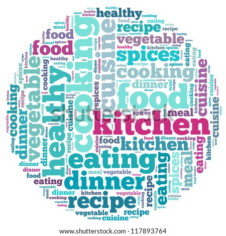 Cooking internet info-text graphics and arrangement concept on white background (word cloud)