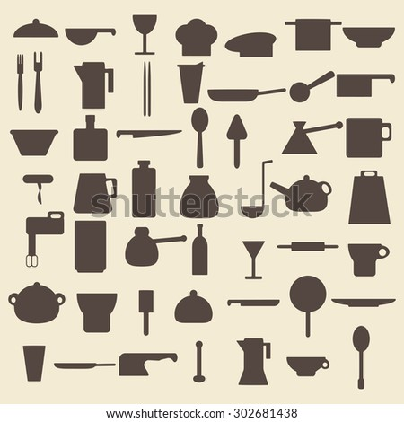 Cooking items silhouette icons set.  Raster copy