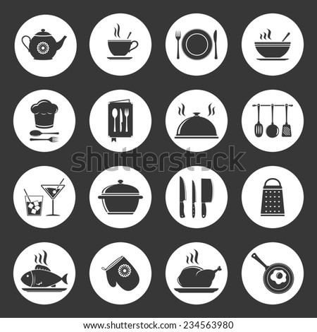 Cooking & kitchen icons set - stock photo