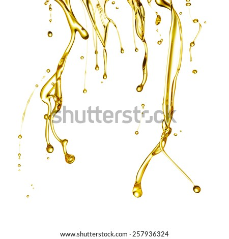 cooking oil dropping isolated on white background - stock photo