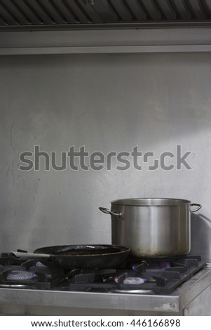 Cooking on a gas stove - stock photo