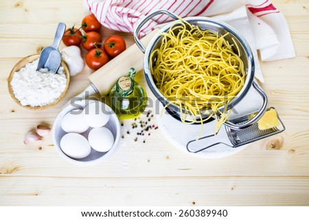 Cooking organic spaghetti for dinner. - stock photo