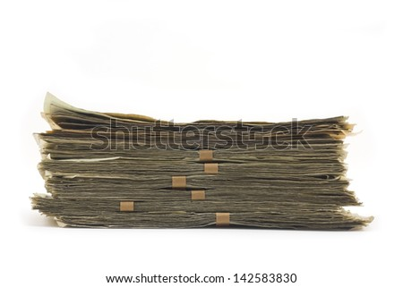Cooking pan and full of money isolated on white Background - stock photo